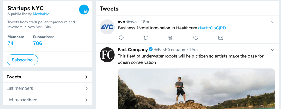startups in nyc twitter lists