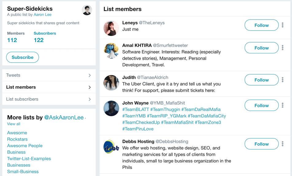 super sidekicks twitter list
