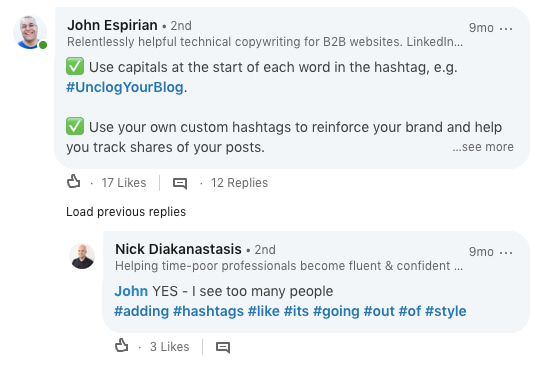 advice on not adding too many hashtags on LinkedIn