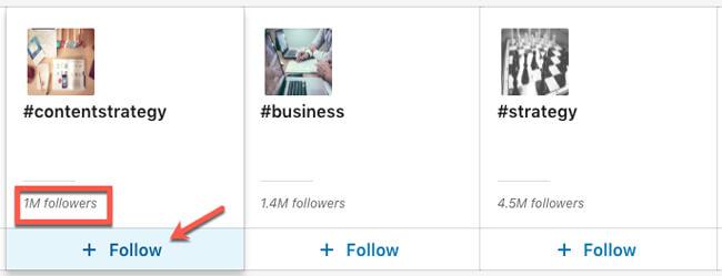 linkedin hashtag follow hashtags