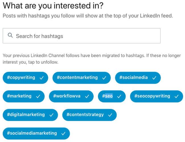 linkedin hashtag management