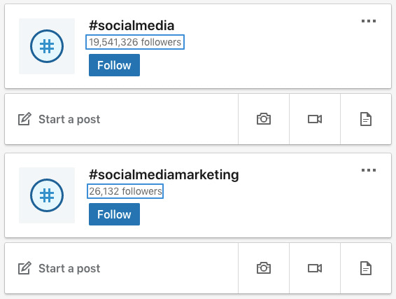 similar LinkedIn hashtags with different follower count