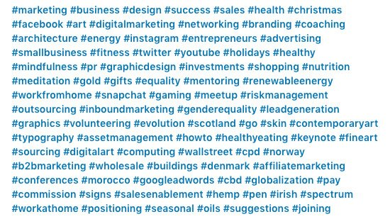 too many linkedin hashtags