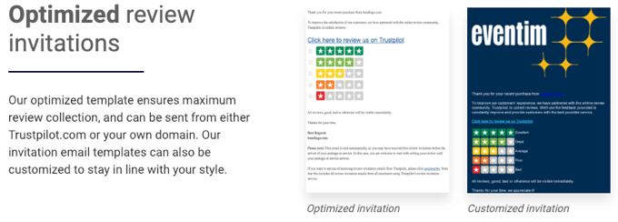 trustpilot review invitations