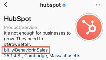 hubspot instagram bio link