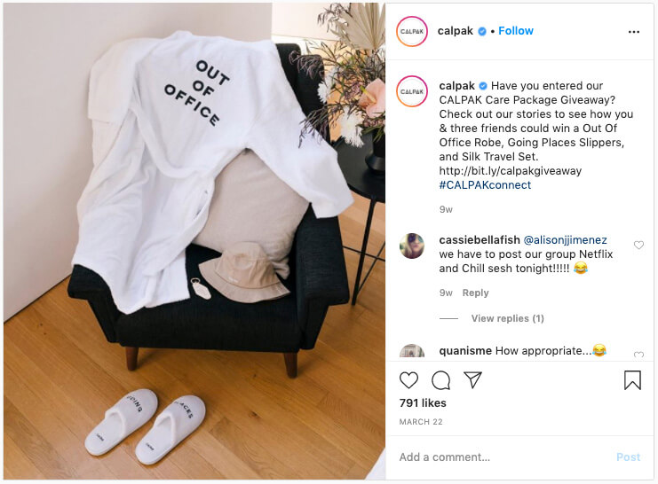 Example of great social media content - Calpak on Instagram