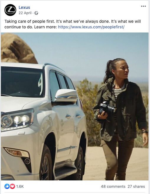 Example of great social media content - Lexus on Facebook