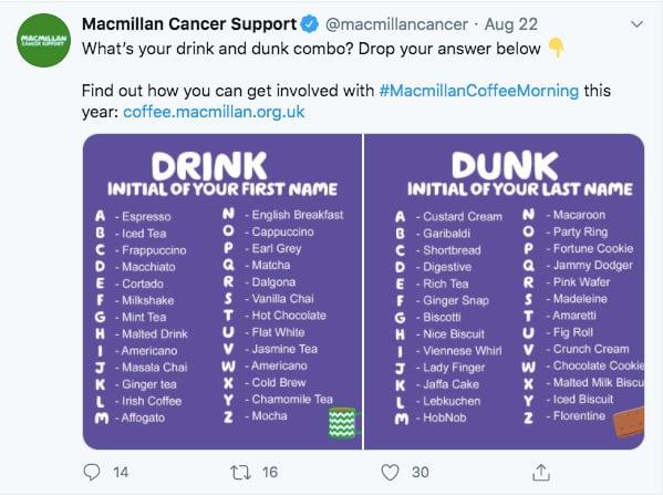 macmillan cancer twitter post