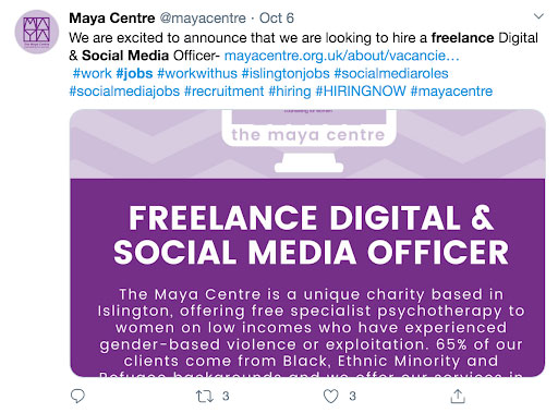 social media freelancer twitter job