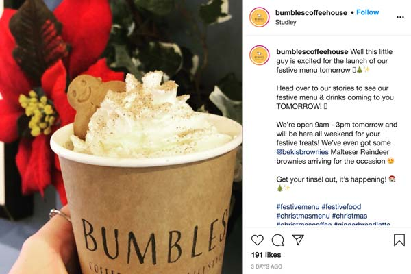 social media for local business bumbles coffee