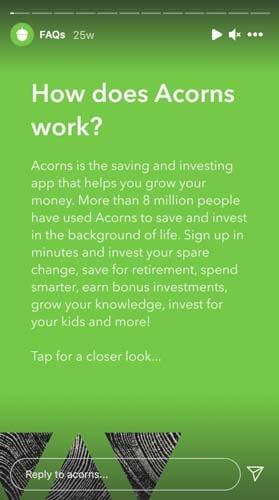 acorns instagram story