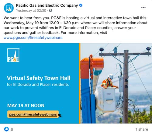 pacific gas and electricity event