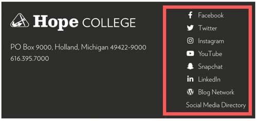 hope college michigan social media presence