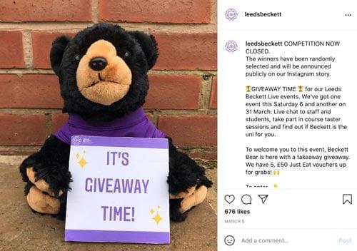 leeds beckett instagram competition
