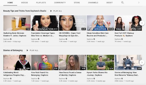 sephora youtube channel