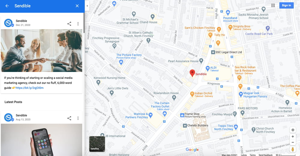 google my business posts preview in google maps