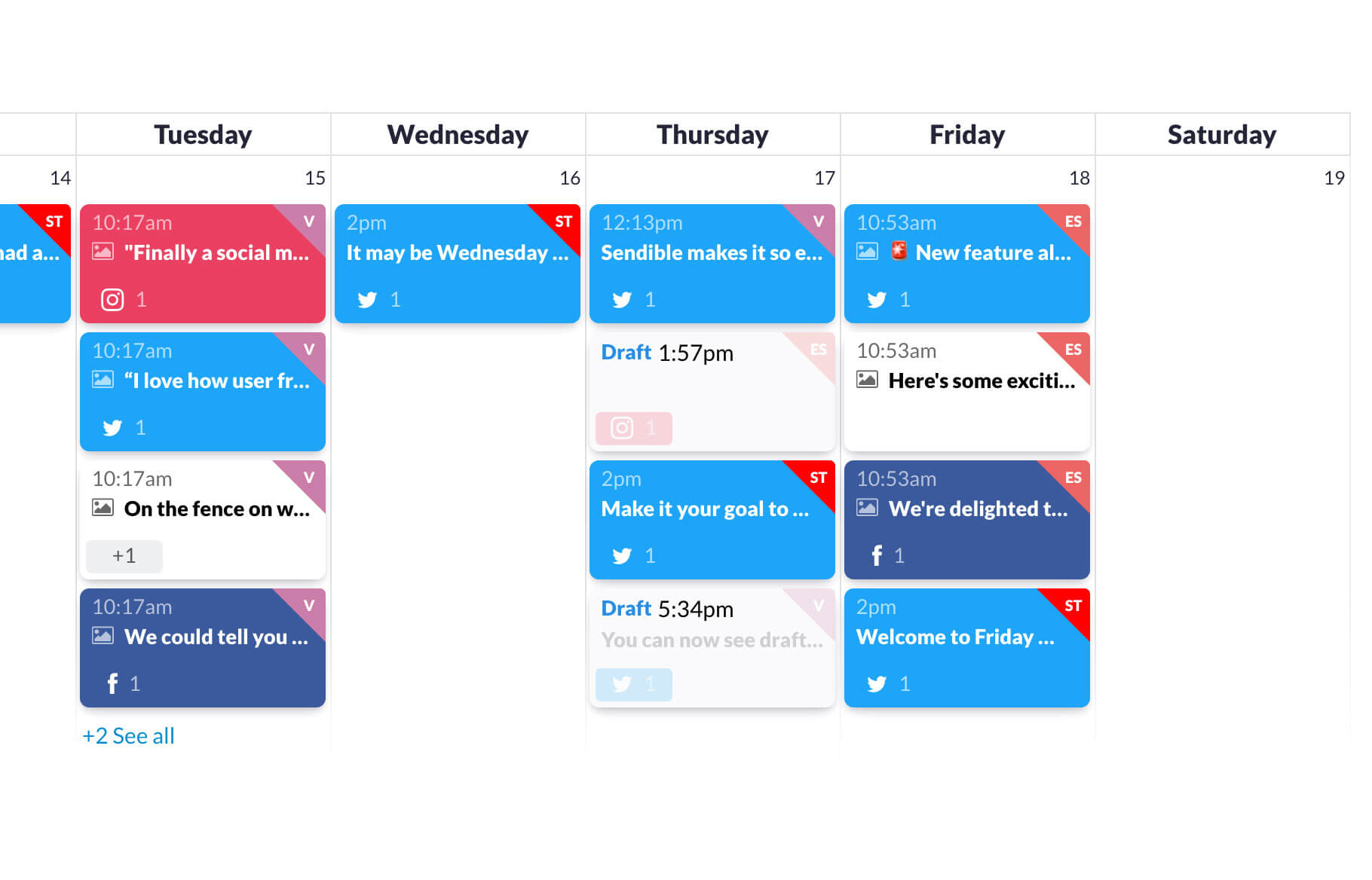 Sendible calendar with posts scheduled to different networks