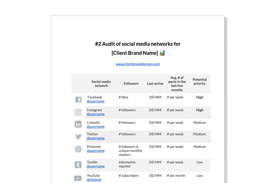 preview of Sendible's social media proposal template