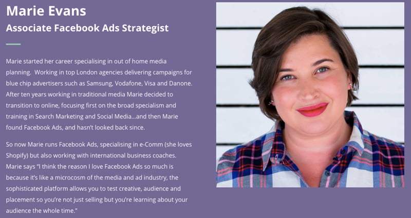 Marie Evans - the Facebook Ads Strategist at Socially Contended