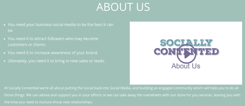 Socially Contended agency About Us page