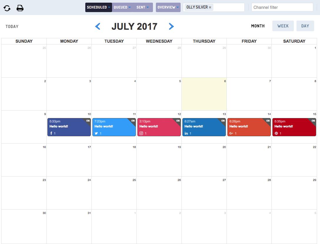 Calendar social accounts
