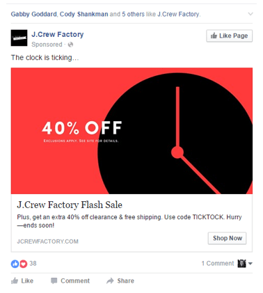 Example of a retargeted ad for J-Crew Facebook fans