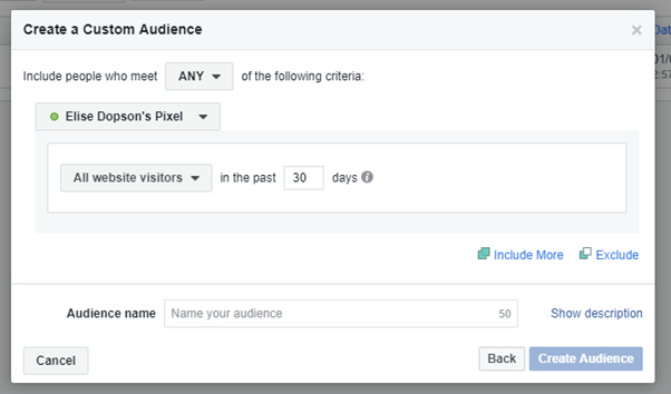 Default setting for creating a custom audience in Facebook Ads Manager