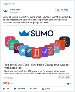 Example of a re-targeting advertisement for previous purchasers on Facebook