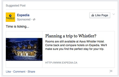 Example of targeting advertisements towards people who visted a specific page