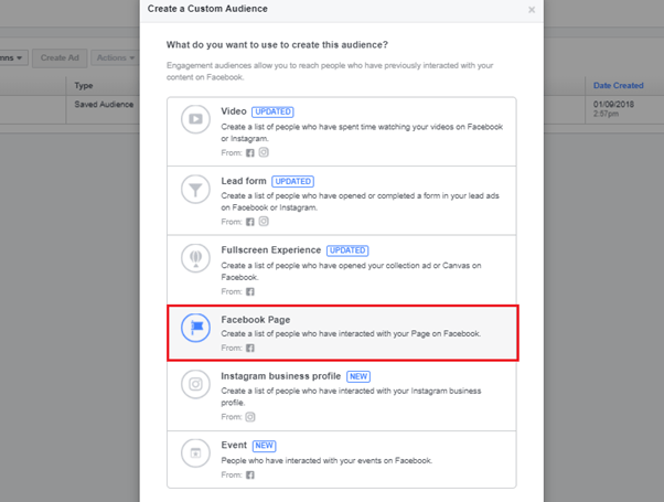 Add in your company Facebook page to re-engage audience memebers