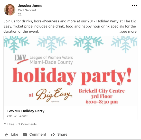 Invite your LinkedIn connections to join a public holiday party