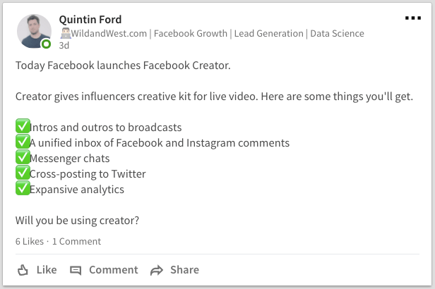 Use Linkedin to circulate valuable information