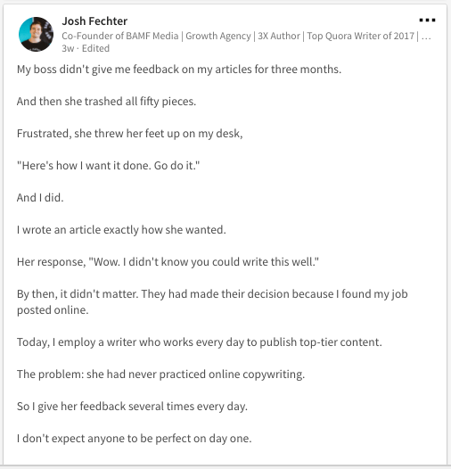 Document your unique story on LinkedIn