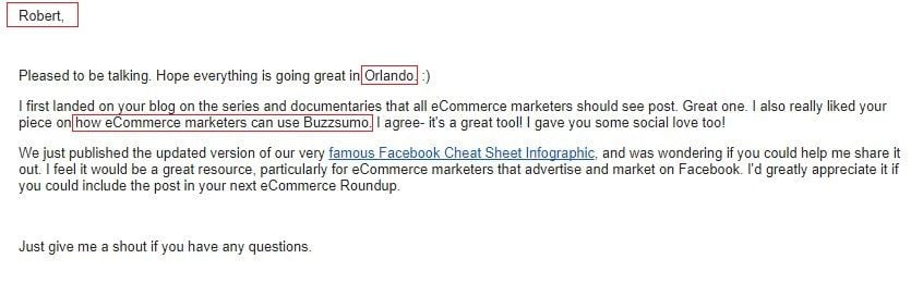 Example of email outreach personalization
