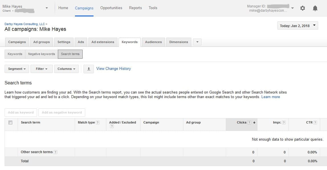 Find opportunities for SEO content targeting with Google Adwords
