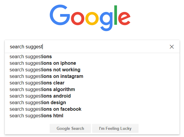 Use search suggestion tool Google Suggest
