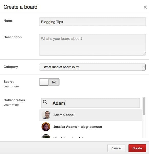 Creating a collaborative board on Pinterest