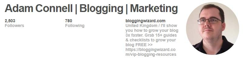 Include other inciting content in your Pinterest bio to interest followers