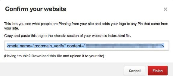 Don't forget to confirm your website on Pinterest