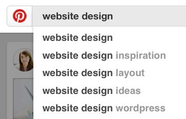 Find popular keywords by searching in Pinterest for suggestions