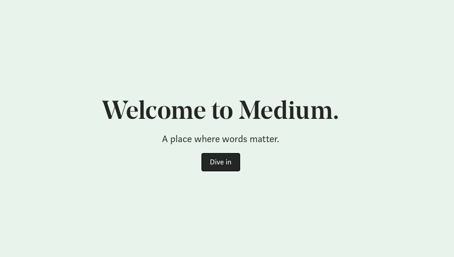 Welcome page for reading and publishing on Medium
