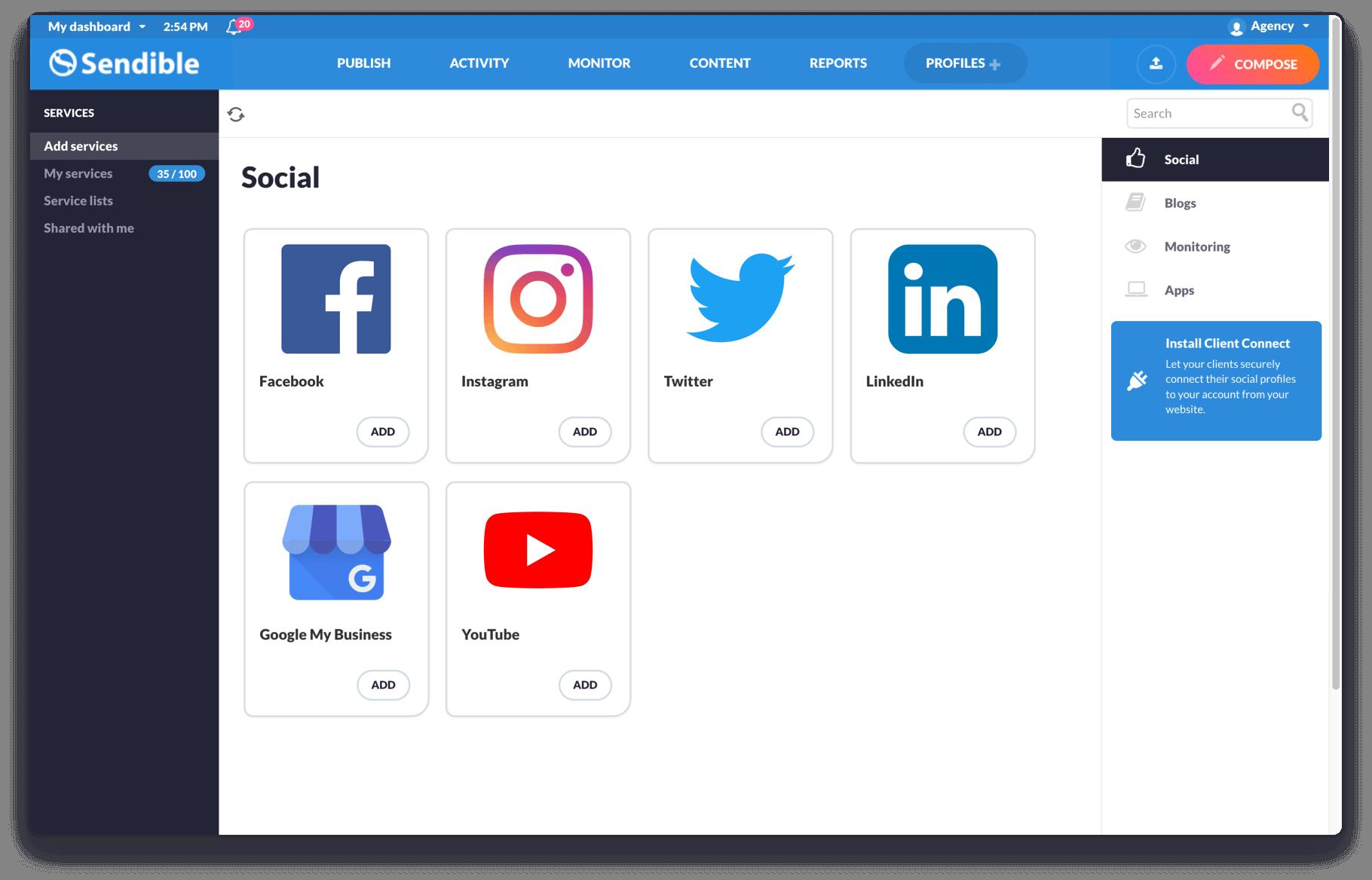 In-depth publishing to Facebook, Twitter, LinkedIn & Google+