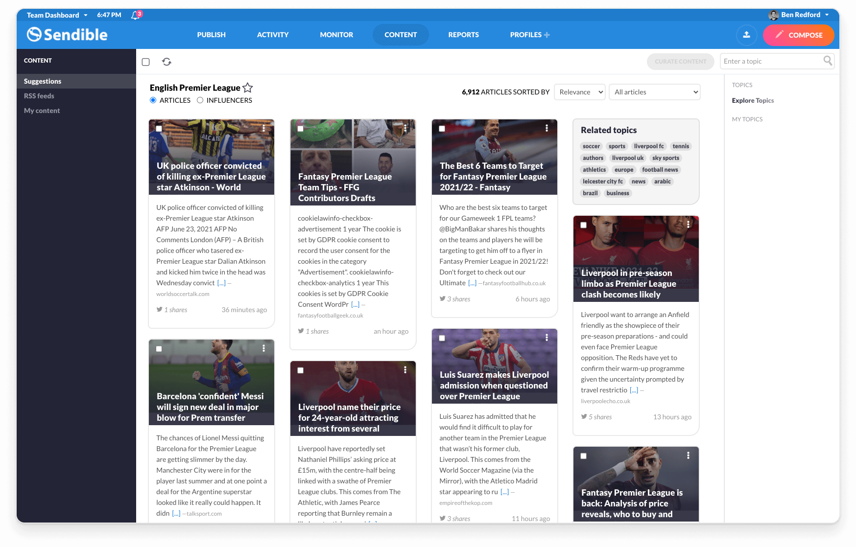 Relevant content suggestions