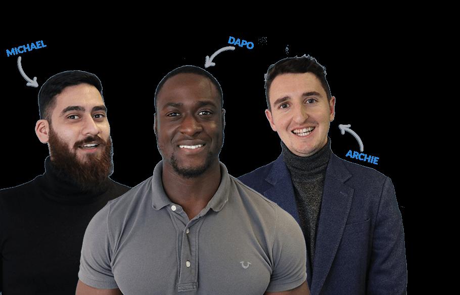 Sendible's consultants - Michael, Dapo and Archie