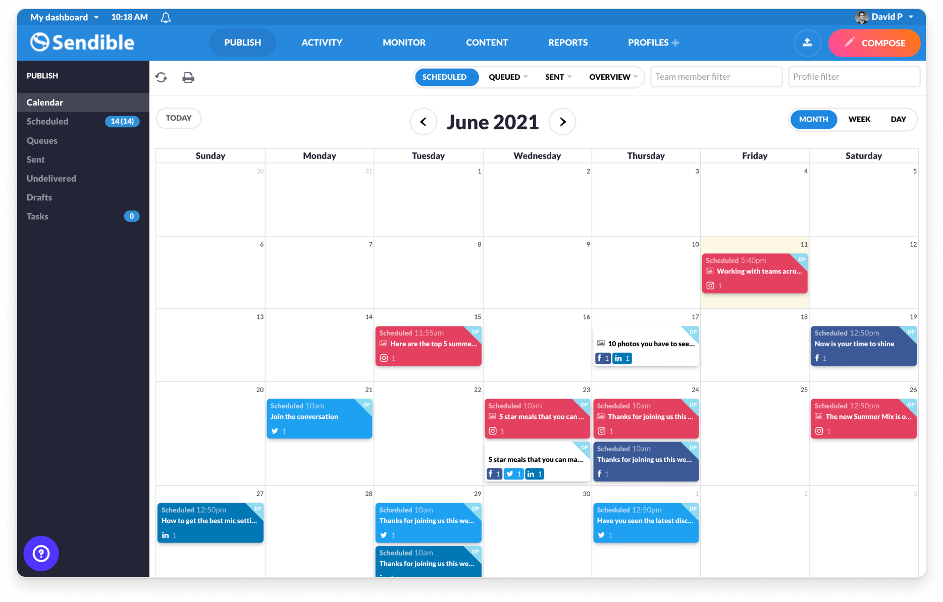 visualize content on a shared publishing calendar